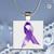 Pendant Necklace Purple Ribbon ( Epilepsy Awareness)