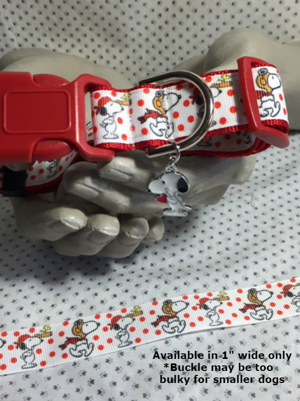 "Snoopy, Ace, Pirate, adventure, red polka dots, 1"" wide adjustable Dog Collar,"