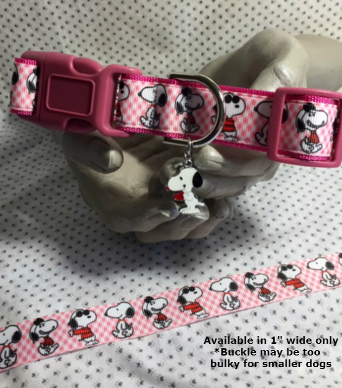 "Snoopy, Cool Snoopy, Sunglasses, Comic, Pink white checks, 1"" wide adjustable"