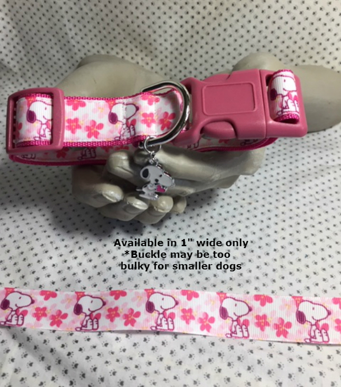 "Snoopy, Comic character, Charlie Brown, beagle, Pink flowers, 1"" wide adjustable"