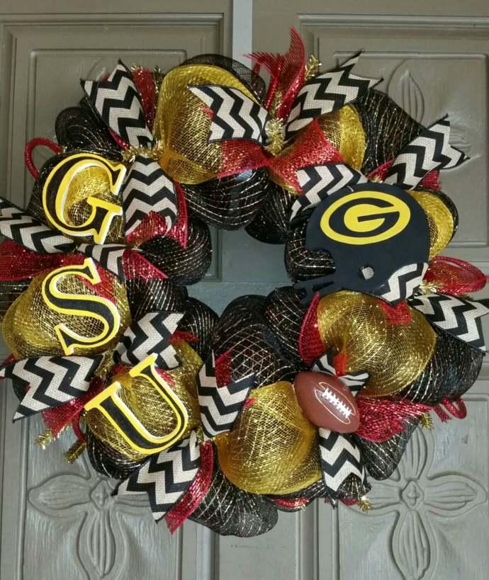 Grambling State University deco mesh wreath
