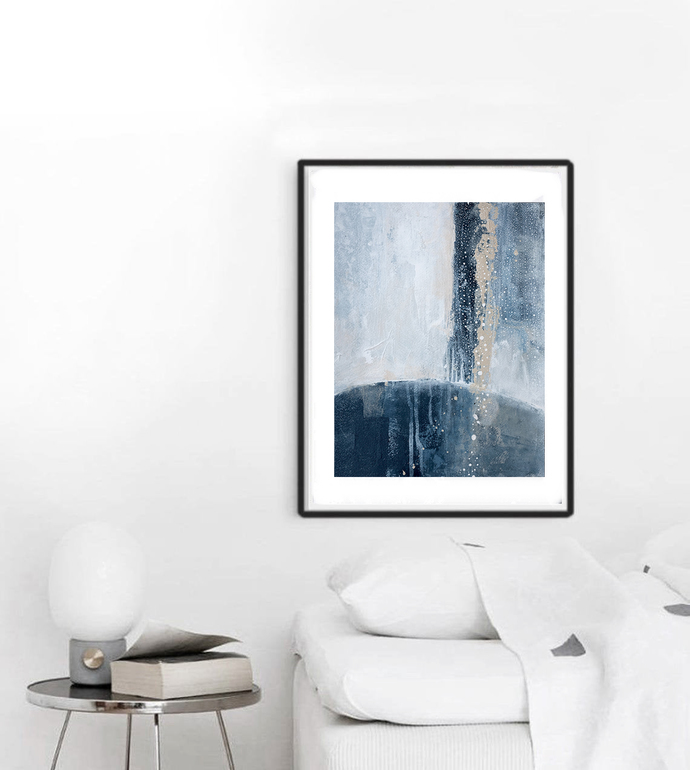 contemporary art, rustic home decor, wall art abstract, navy blue and white