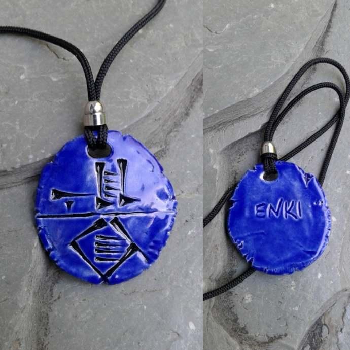 Cuneiform ENKI Necklace Sumerian Pendant Blue Ceramic Sumerian God of Widsom
