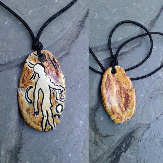 Australian Aboriginal Petroglyph Pendant Ceramic Cave Painting Amulet