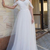 Beautiful White Tulle Open Back Appliques Long Dress