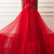 Vintage Red Prom Dress Tulle Long A Line Prom Dress