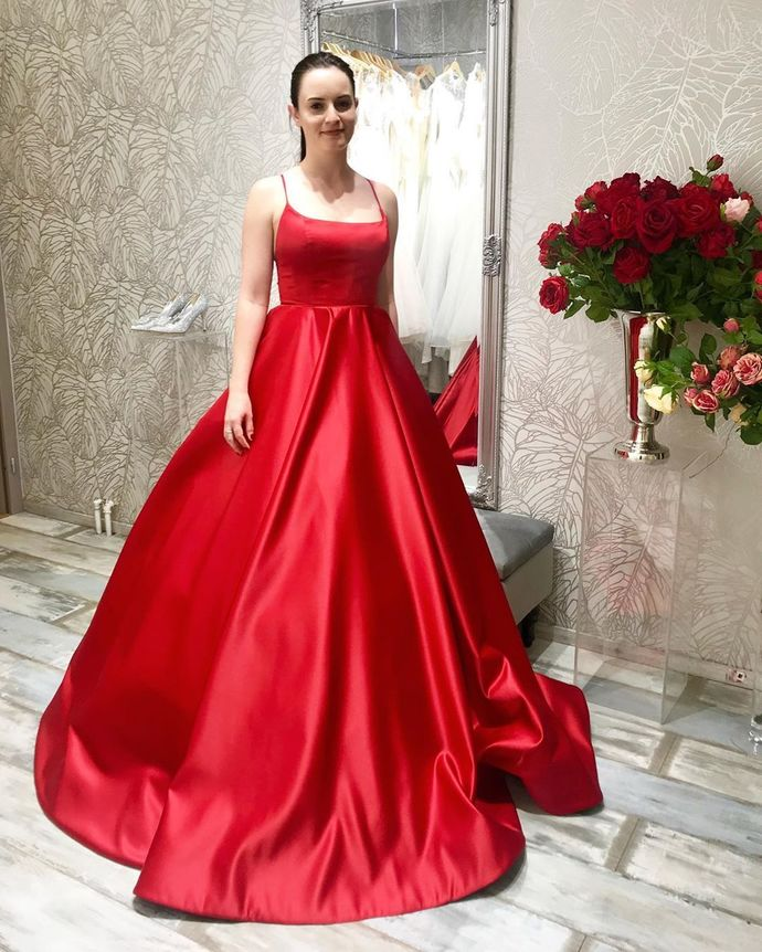 Sexy Sleeveless Red Ball Gown Prom Dress with Lace up Back, Long Evening Dress