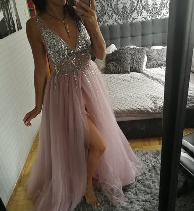Sexy Beaded Tulle Pink Long Prom Dress, Backless Pink Evening Dress
