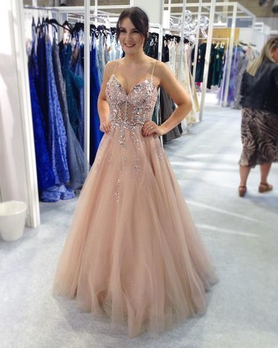 Sexy Straps Tulle Beaded Pink Prom Dress, Long Evening Party Dress
