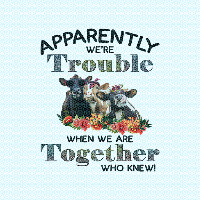 Apparently we're trouble when we are together who knew, Not today Heifer, Heifer