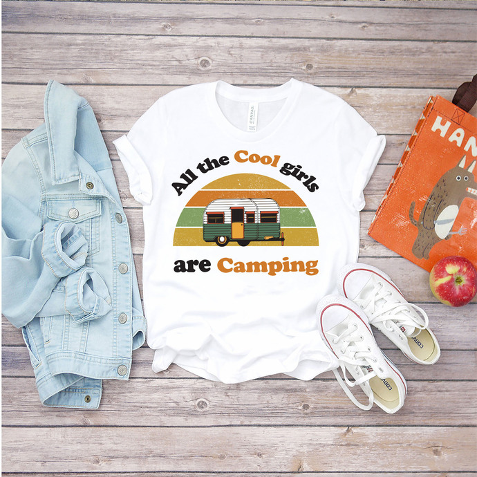 All the cool girl are camping, camping girl svg, cool girl svg, camping svg,
