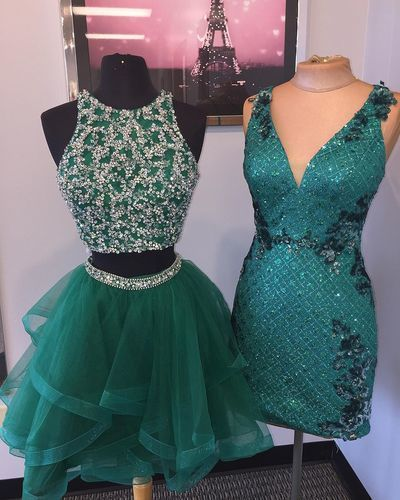 Elegant Short Beaded Homecoming Dress, Tulle Party Gown, Green Two Piece Prom