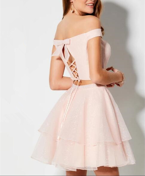 Off the Shoulder Pink Two Piece Prom Dress, Pink Homecoming Dress