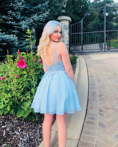 Sexy Sleeveless Blue Appliques Short Party Dress, Blue Prom Gowns