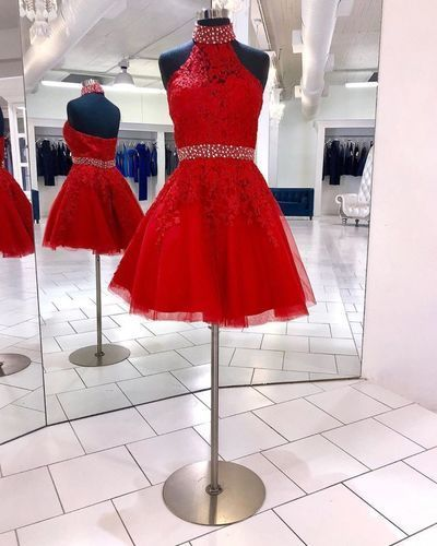 Princess Red Halter Tulle Appliques Short Homecoming Dress
