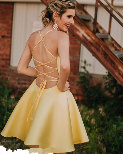 Sexy Straps Yellow Short Party Dress with Lace up Back