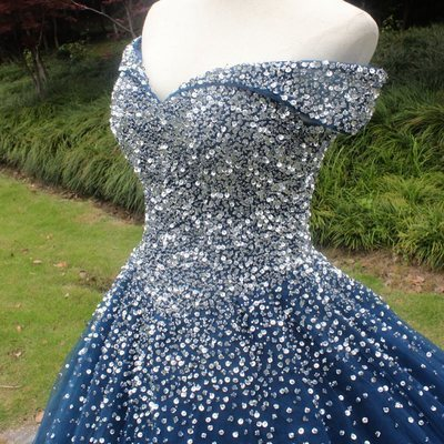 Sparkly Off the Shoulder Navy Tulle Quinceanera Dress, Formal Ball Gown Prom