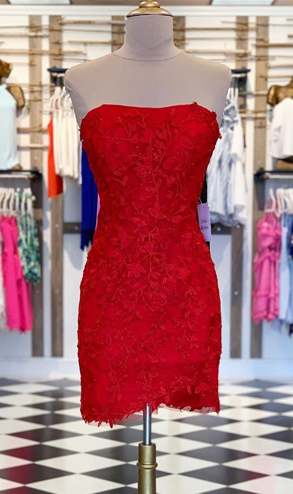 Sexy Strapless Tight Red Lace Short Party Dress