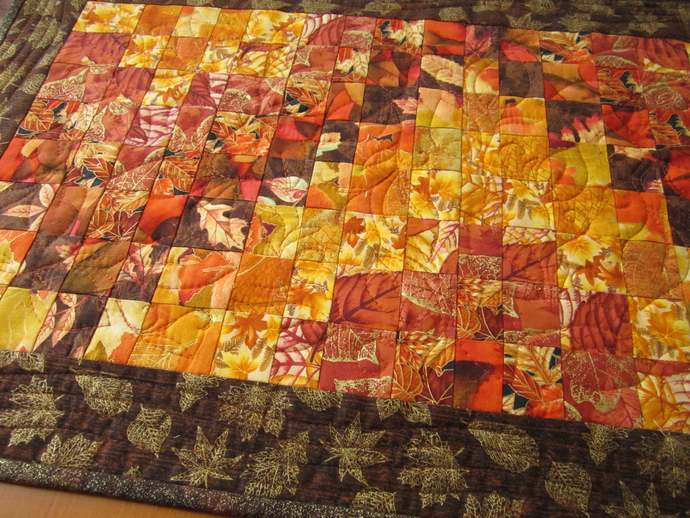 Table Runner Fall Quilted Bargello Autumn Leaves