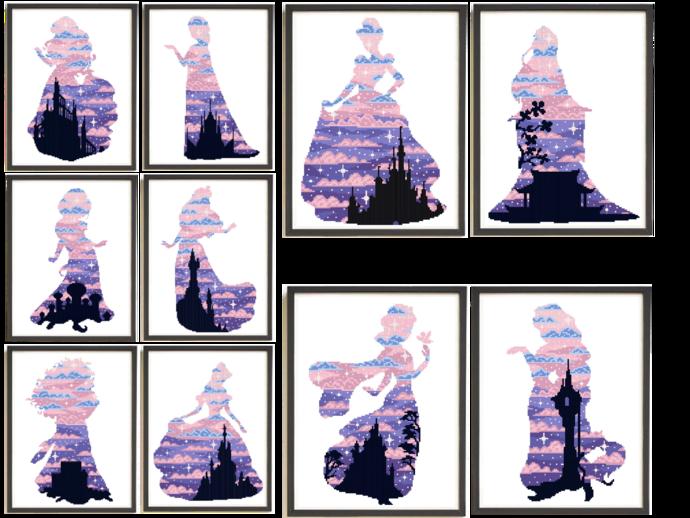 Princess Silhouette modern cross stitch pattern, beauty, castle, fairytale,