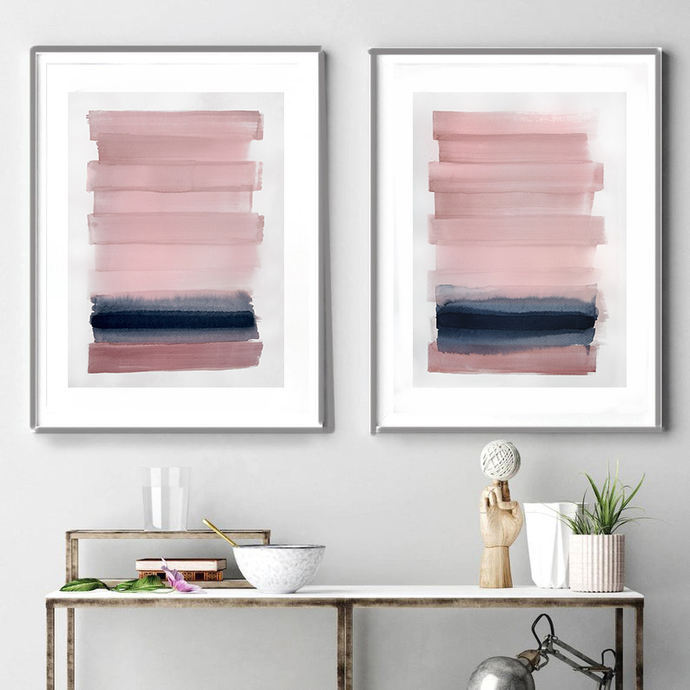Original abstract painting, watercolor decor, abstract painting ,Diptych pink