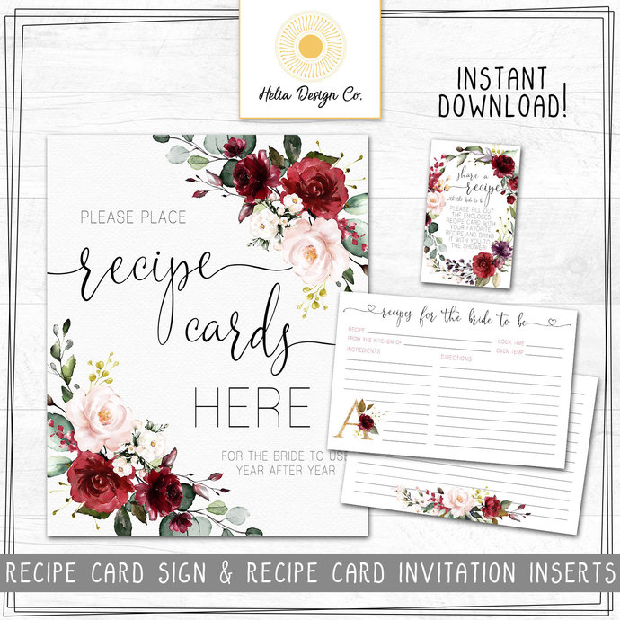 NEW! Recipe Card Sign and Recipe Cards Inserts | Bridal Shower | Burgundy and