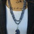 Stunning Sodalite Long Double wrap Beaded Necklace with Pendant Bohemian Glam by