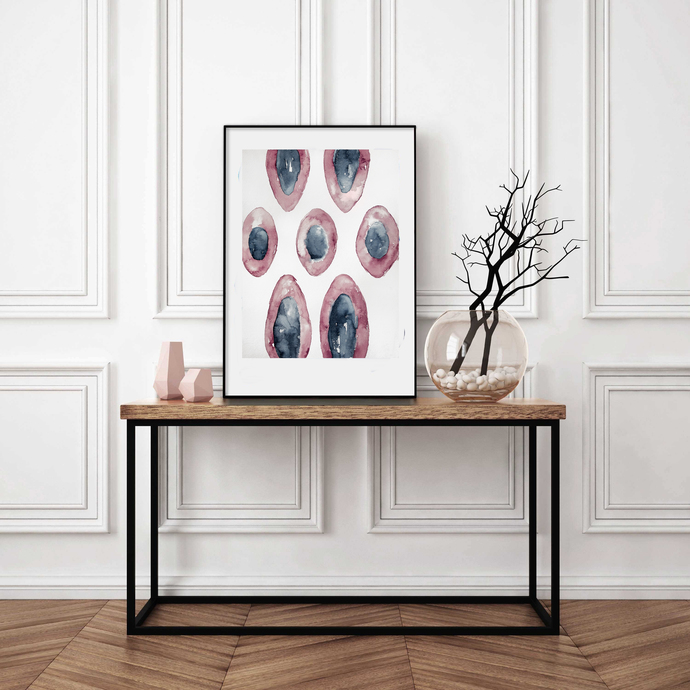 Original abstract, contemporary art, modern art, Scandinavian abstract, pink and