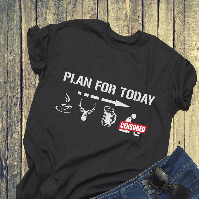 Plan For Today Coffee Hunting Beer Censored Svg, funny svg, funny quotes,