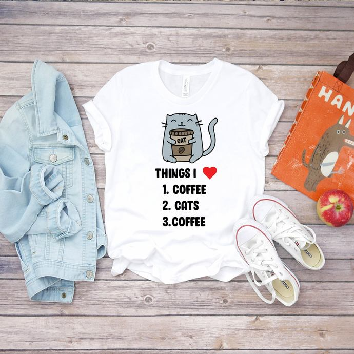 Things I love, cats, coffee, coffee svg, coffee lover, cat svg, cat lover, cat