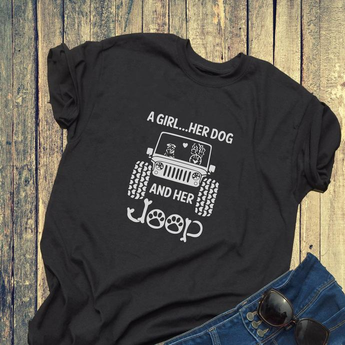 A girl here dog and her jeep, dog shirt svg, jeep, jeep car svg, women gift,