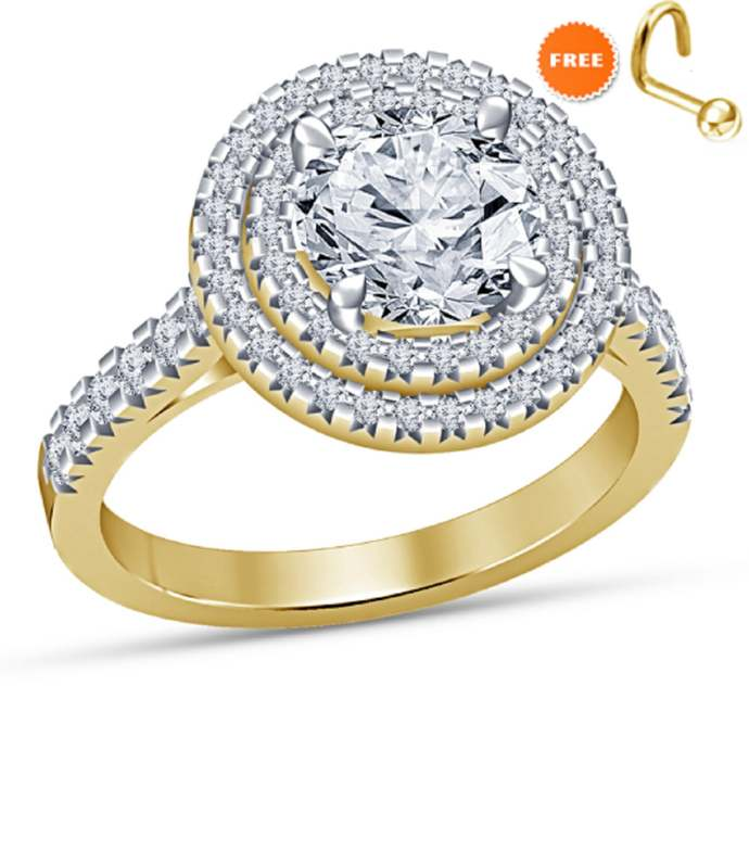 10K Yellow Gold Finish Round Cut Sim Diamond Engagement Wedding Unique Ring 925