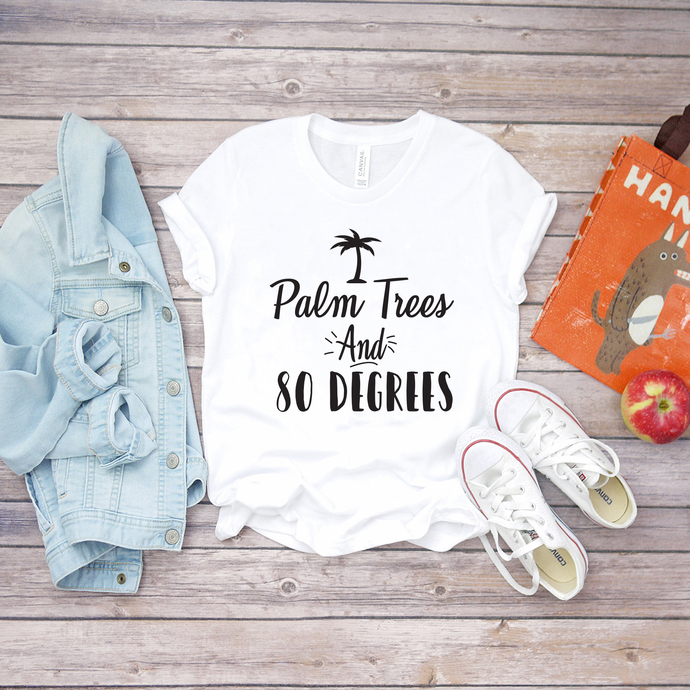 plam trees and so degrees, camping, beach, go to beach, summer shirts, print