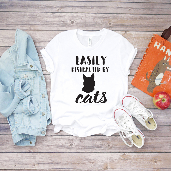 Easily distracted by cats, cats svg, cats shirt svg, print shirt, digital file,