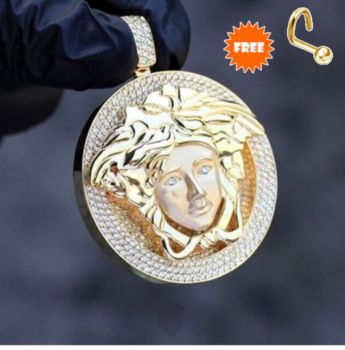 Solid 925 Sterling Silver Partially Versace Medusa 14k Gold Finish Pendant With