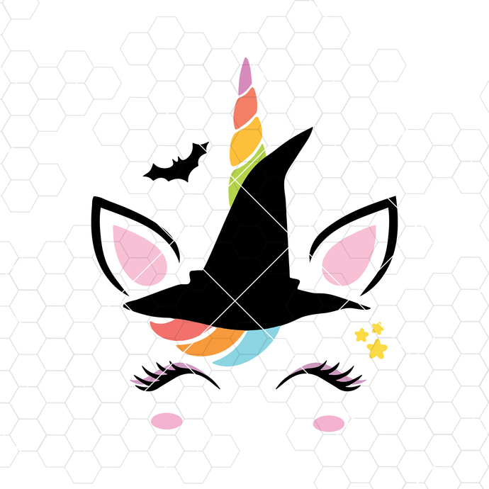 Halloween Unicorn Svg Halloween Svg Unicorn Witch Face Cricut Silhouette svg