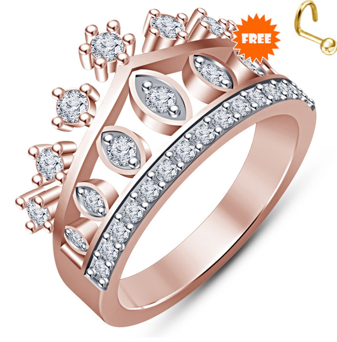 14K Rose Gold Finish Round Cut Red Garnet Bridal Set Ladies Engagement Wedding