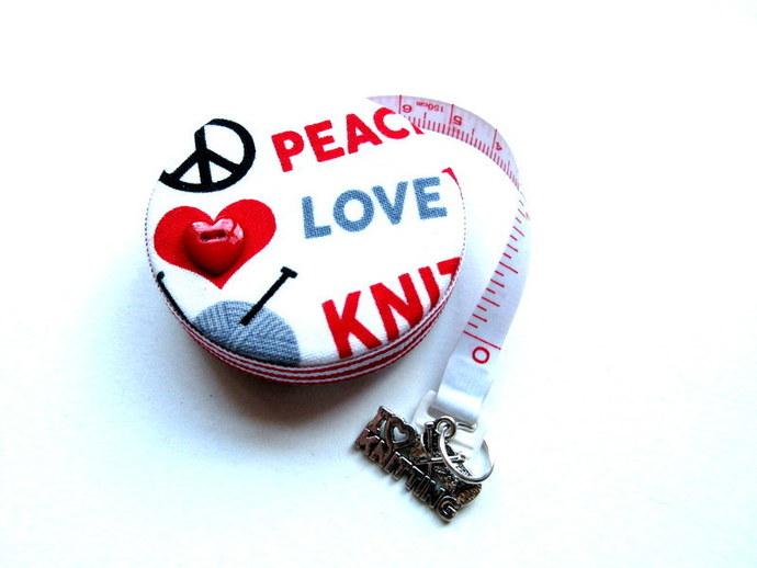 Measuring Tape Peace Love Knit Retractable Tape Measure