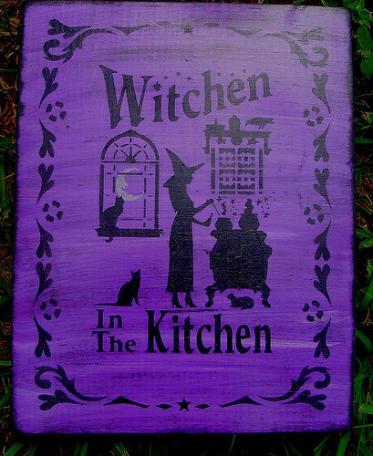 Primitive Witch sign Witchen in the Kitchen witches Signs halloween decorations