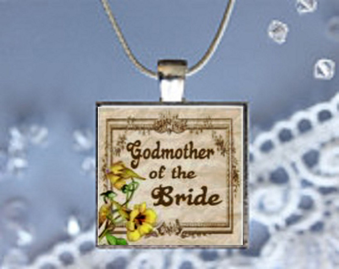 Pendant Necklace Wedding, God mother of the Bride