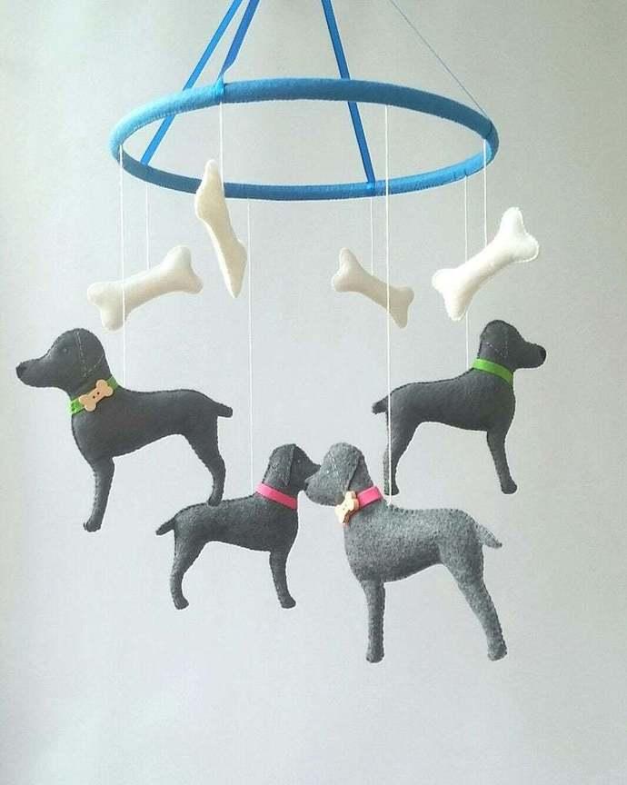 animals baby crib mobile dog weimaraners felt nursery decor Baby shower gift boy