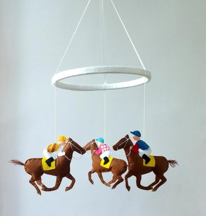 mobile horse and rider felt animals crib cot hanging mobile new baby gift