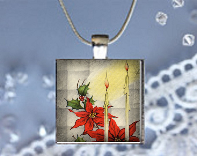 Pendant Necklace Christmas Scene