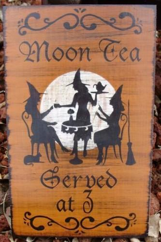 Primitive Witch Sign Moon Tea Served at 3 Coffee Witch's Kitchen Witches black