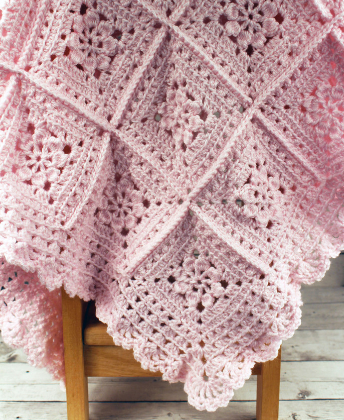 Beautifully Crocheted Baby Girl Pink Blanket Afghan