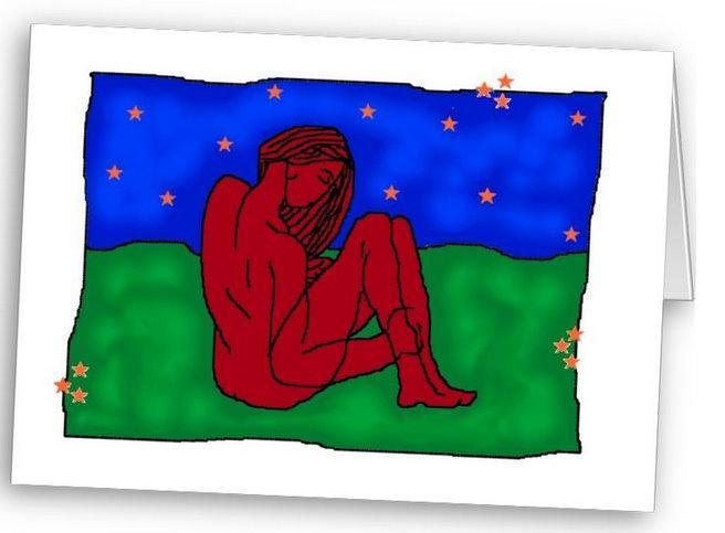 Red Nude Digital Art Greetings Card