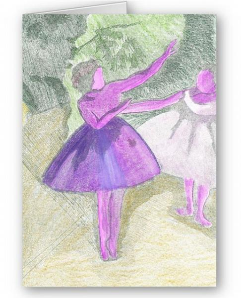 Ballet Dancer Etching - Art Greetings Card
