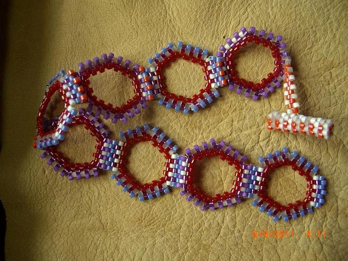 Hexagon Polka Dots Hand Beaded Bracelet
