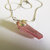 Rose Aura Crystal Point Pendant, Raw Crystal, Silver Wire Wrap