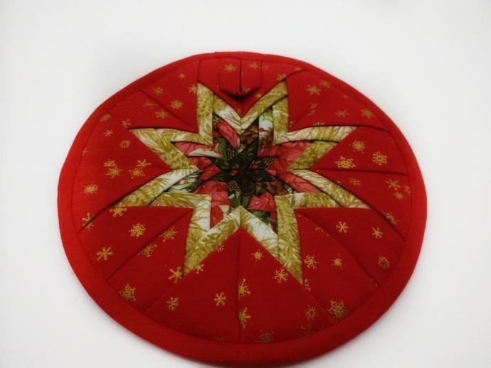 Quilted Star Trivet, Folded Star Trivet, Christmas Kitchen Decor, Christmas